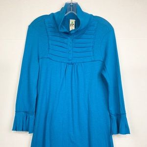 Free People Teal bell sleeve cotton dress